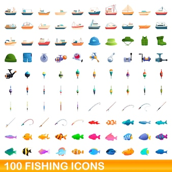 Collection of fishing icons isolated on white
