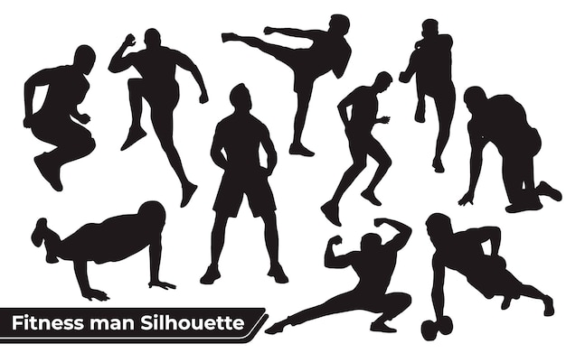 Collection of fitness man silhouettes in different positions
