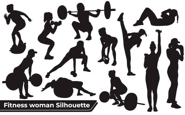 Collection of fitness woman silhouettes in different positions
