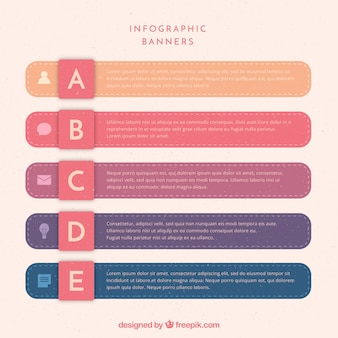 Collection of five colored infographic banners