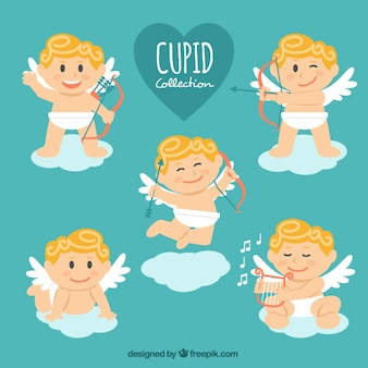 Collection of five smiling cupid characters in flat design
