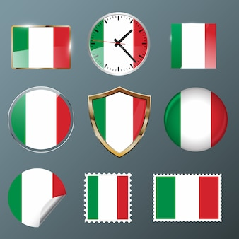 Collection flag italy