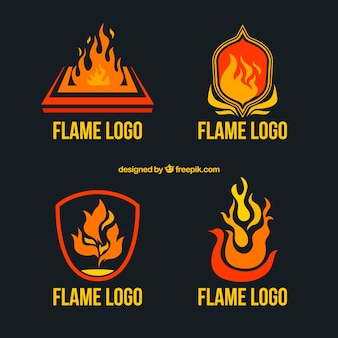 Collection of flame logos in flat design