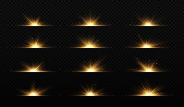Collection of flashes lights and sparks effects glare lines glitter explosion golden light