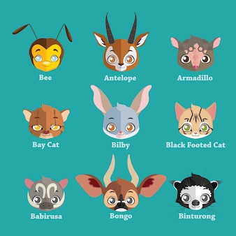 Collection of flat animal face avatars