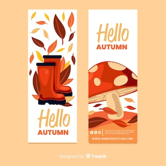 Collection of flat autumn banners