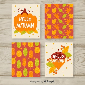Collection of flat autumn cards