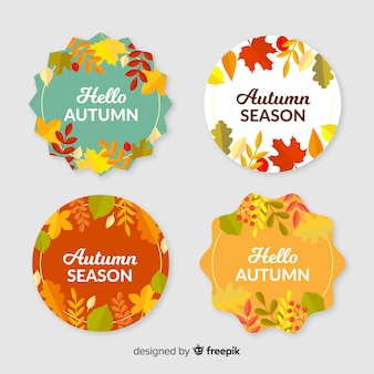 Collection of flat autumn labels