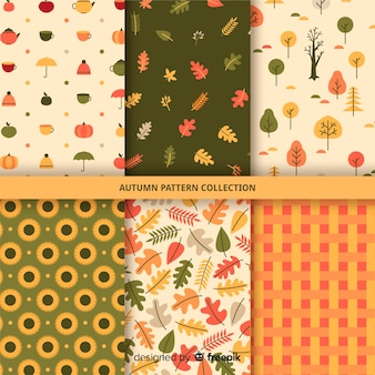Collection of flat autumn pattern