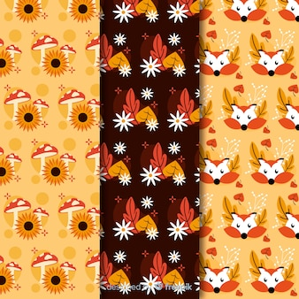 Collection of flat autumn patterns