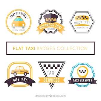Collection of flat badges for taxi services