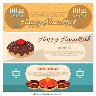 Collection of flat banners for hanukkah