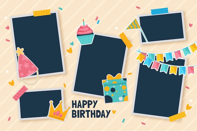 Collection of flat birthday collage frame