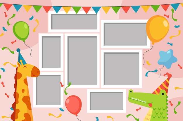 Raccolta di cornice collage piatto compleanno