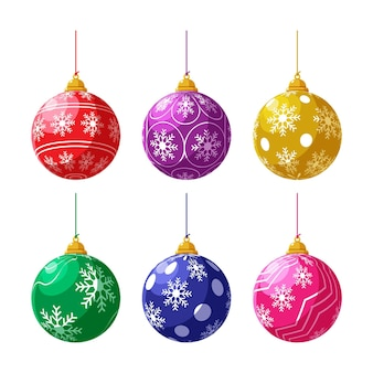 Collection of flat christmas ball ornaments