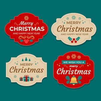 Collezione di etichette natalizie piatte
