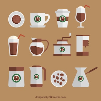 Collection of flat coffee accessories