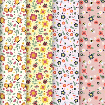 Collection of flat colorful spring patterns