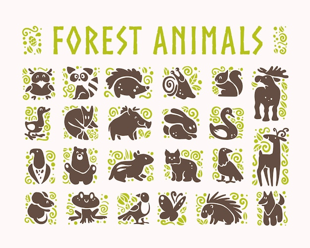 Collection of flat cute animal icons isolated on white background.