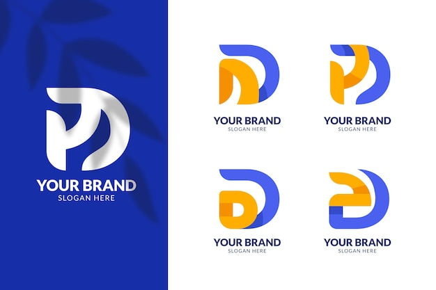 Collection of flat d logo templates