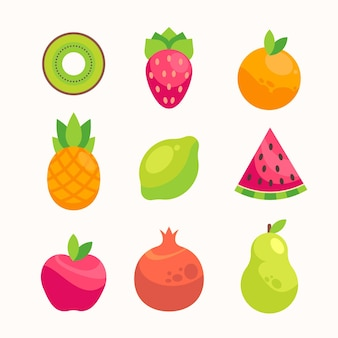 Collection of flat delicious fruits