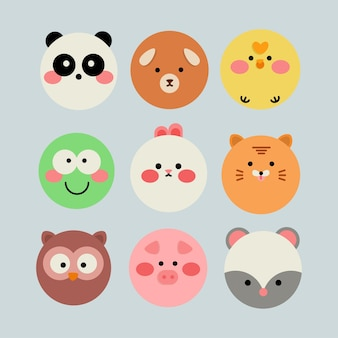 Collection of flat design animal