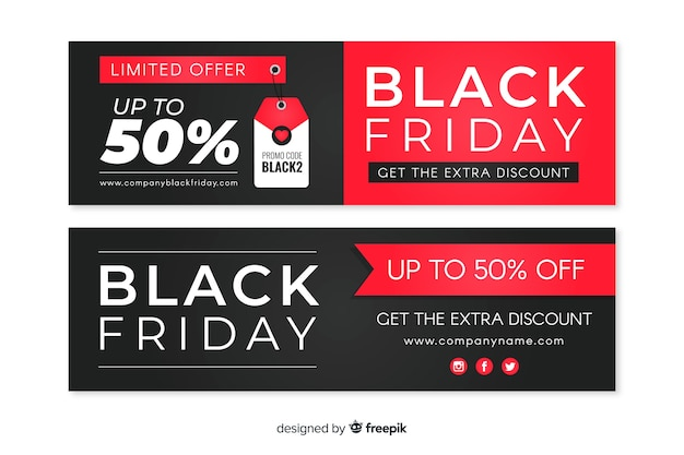 Collection of flat design black friday banners