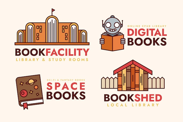 Collection of flat design book logo