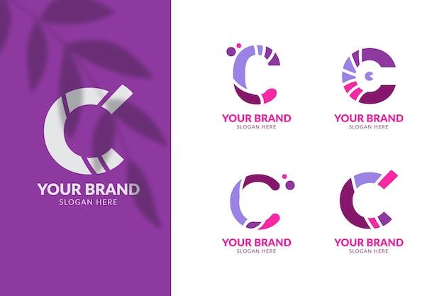 Collection of flat design c logos