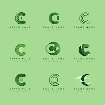 Collection of flat design c logos