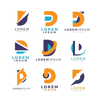 Collection of flat design d logos