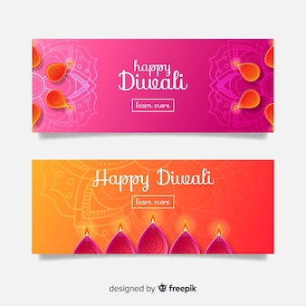 Collection of flat design diwali web banners