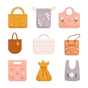 Collection of flat design fabric bags