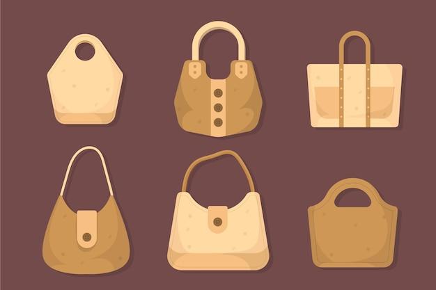 Collezione di borse in tessuto dal design piatto Vettore gratuito