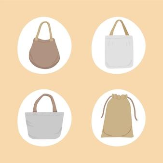 Collezione di borse in tessuto dal design piatto