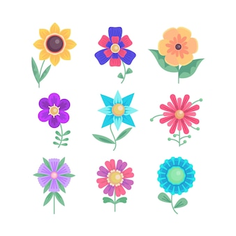 Collection of flat design flowers
