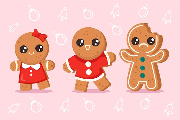 Collection of flat design gingerbread cookies