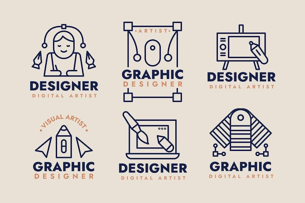 Collection of flat design graphic designer logo