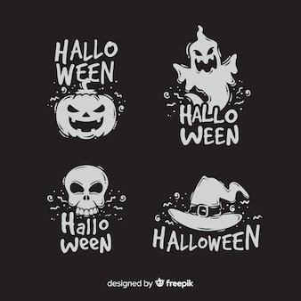 Collection of flat design halloween badge