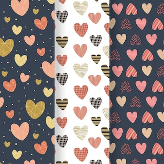 Collection of flat design heart patterns