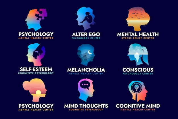 Collection of flat design mental health logo template
