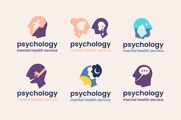 Collection of flat design mental health psychology logo