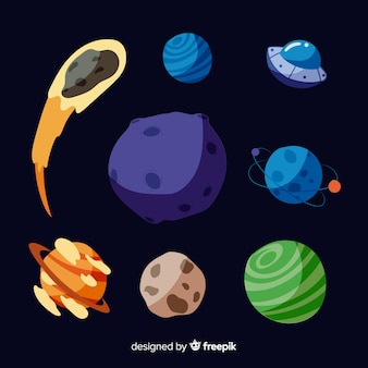 Collection of flat design milky way planets