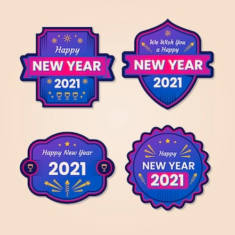 Collection of flat design new year 2021 badges