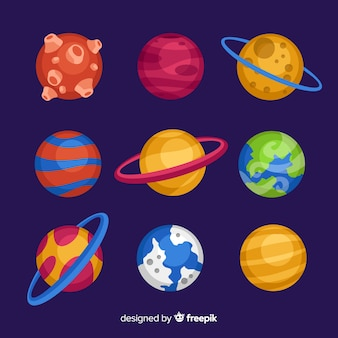 Collection of flat design planets