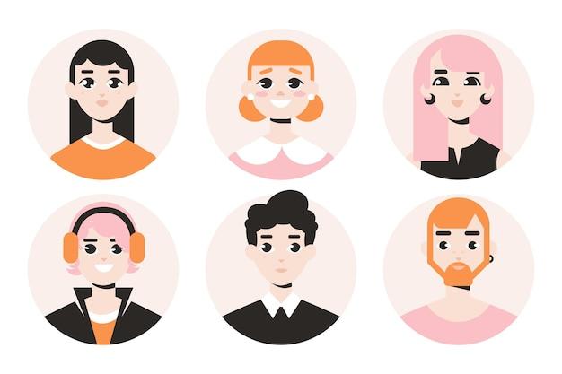 Collezione di icone del profilo di design piatto