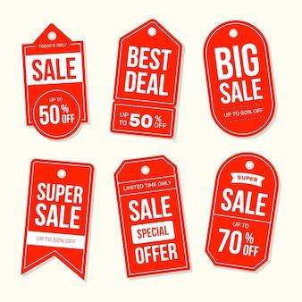 Raccolta di tag di vendita design piatto