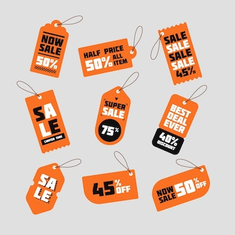 Collection of flat design sales tags