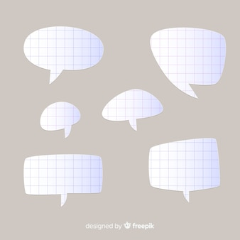 Collection of flat design speech bubbles in paper style