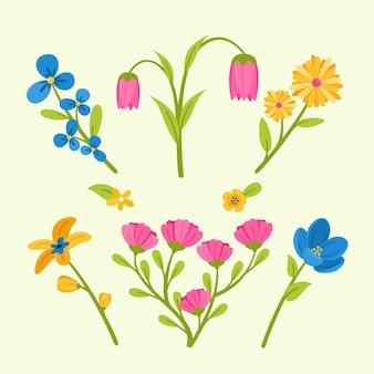 Raccolta di fiori primaverili design piatto